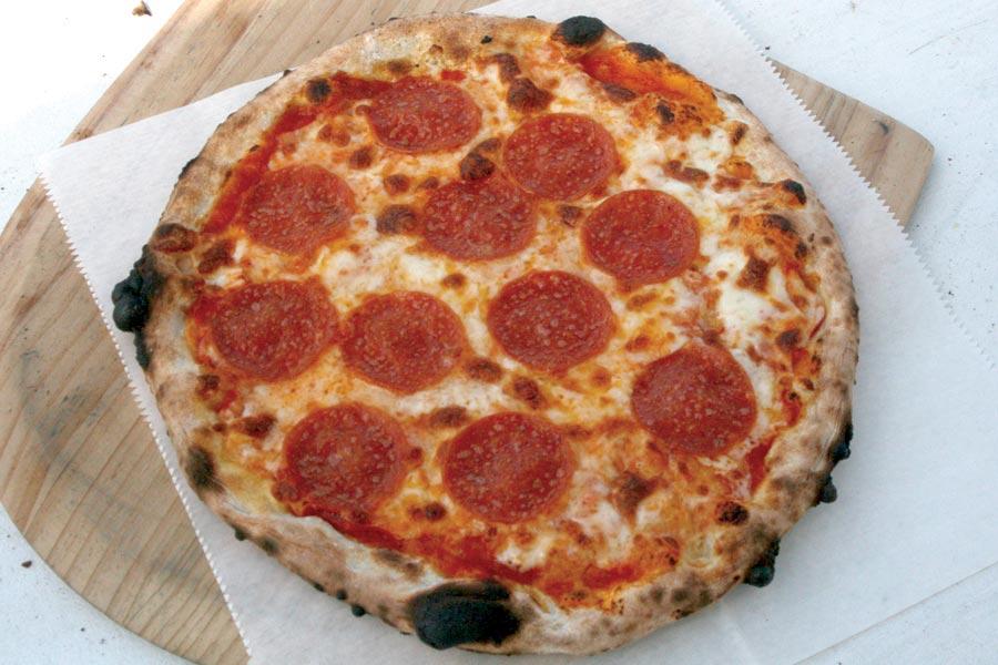 Log Home Wood Fired Pizza Hunter Pepperoni