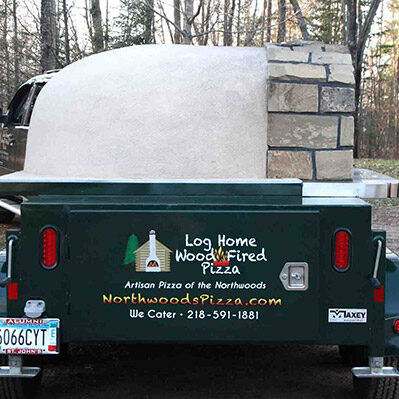 Log Home Wood Fired Pizza trailer